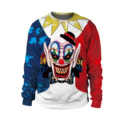 Clown 3D Print Crew Neck Sweatshirt Halloween Night  Stage Costumes