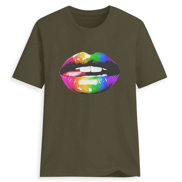 Round Neck Colorful Art Lip Print T-shirt