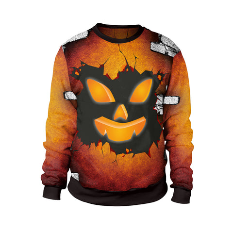 Halloween Night Pumpkin Head Print Evening Dress Round Neck Sweatshirt
