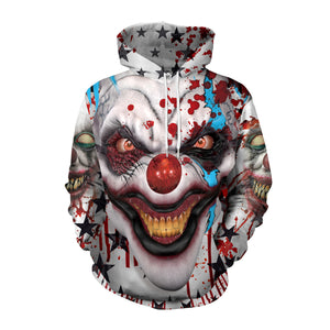 It Clown Stephen King Creepy 3D Hoodie Sweatshirt Jacket