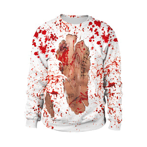 Bloody Halloween Party Dress Up Street Costume Round Collar Sweatshirt