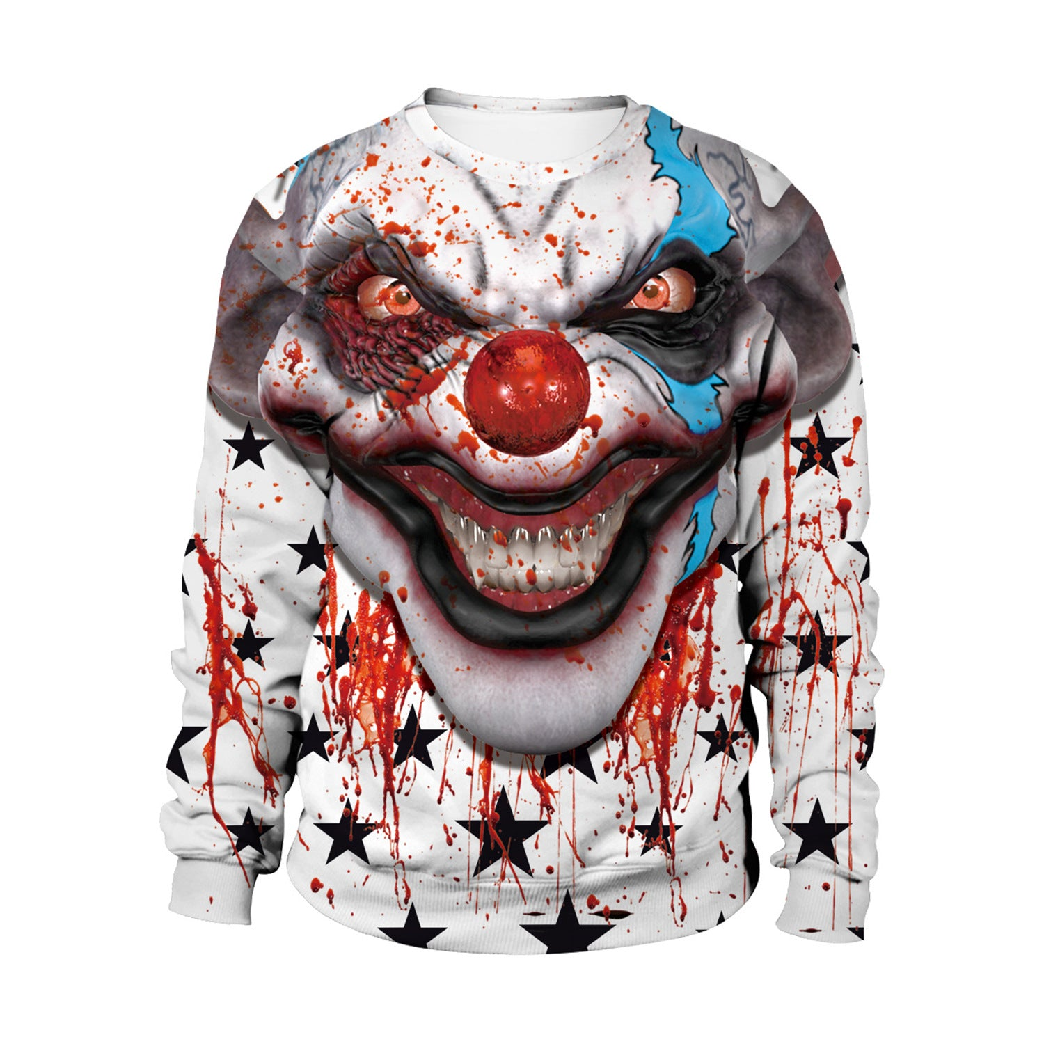 Clown Digital Print Couple Sweatshirt Halloween Night Party Costume