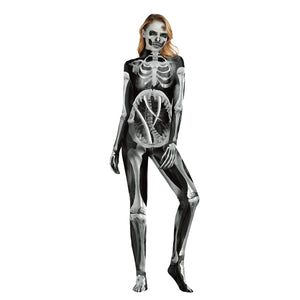 Halloween Digital Print Tight Zipper with Socks Jumpsuit