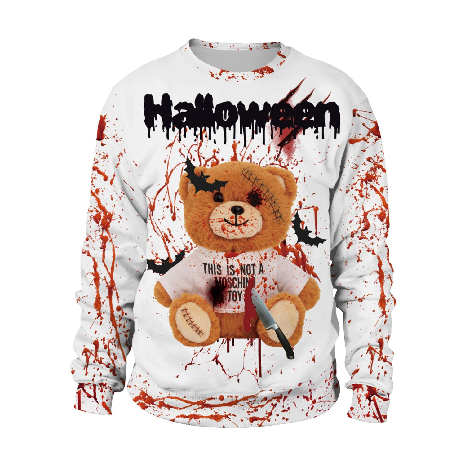 Horror 3D Blood Splashing Printed Sweatshirt Halloween Party Costume