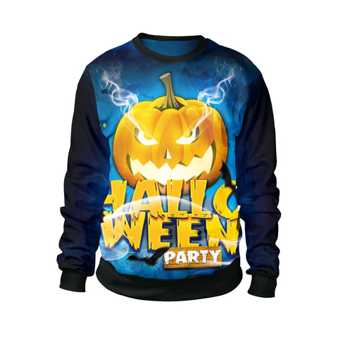 Halloween 3D Pumpkin Head Print Round Collar Couple Sweatshirt