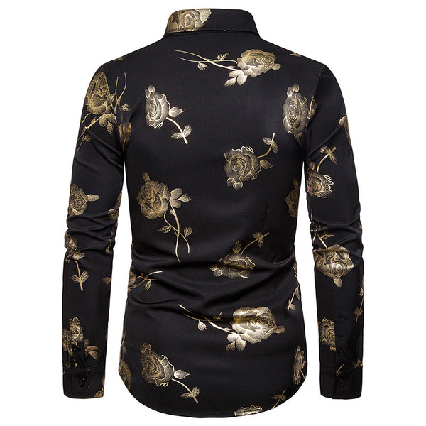 Nightclub Men's Lapel Rose Hot Stamping Slim Long Sleeve Shirt