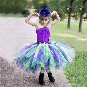 Girls Halloween Witch Mage Tutu Girls Sorcerer Princess Dress Kids's Dress