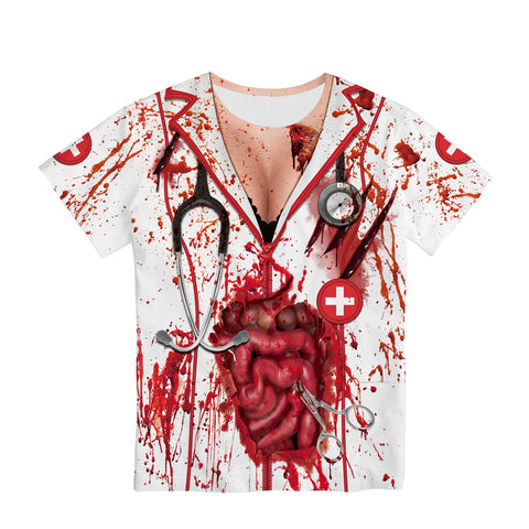 Halloween Nurse Zombie 3d Digital Print Women's T-shirt