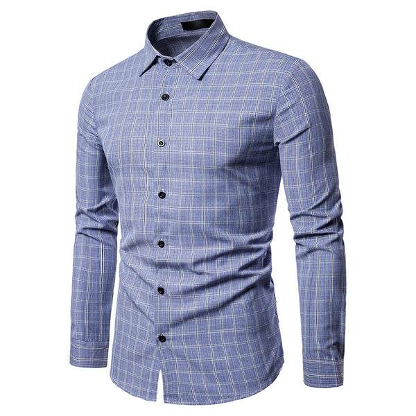 Men's Fashion Casual Business Multi Plaid Casual Long Sleeve Shirt