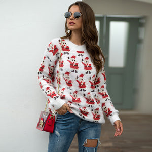 Women Knitwear Santa Claus Print Long Sleeve Pullover Knitted Sweater