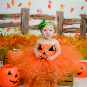Girls Halloween Pumpkin Dress Children's Princess Dress Kids Dress