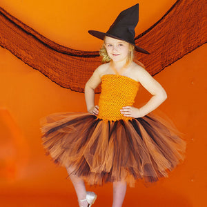 Girls Halloween Witch Tutu Witch Cosplay Girl Sorcerer Princess Dress Kids Dress Children's Dress
