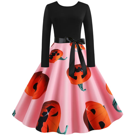 Pumpkin Print Round Neck Long sleeve Vintage Swing dress
