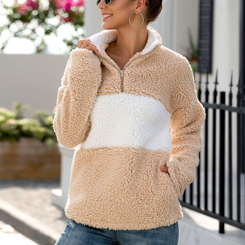 Zipper Pullover Fur Coat Stitching Plush Sweater Sweatshirt