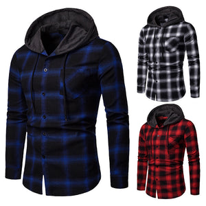 Fashion Plaid Men's Hooded Flannel Plaid Shirt Cardigan Casual Jacket