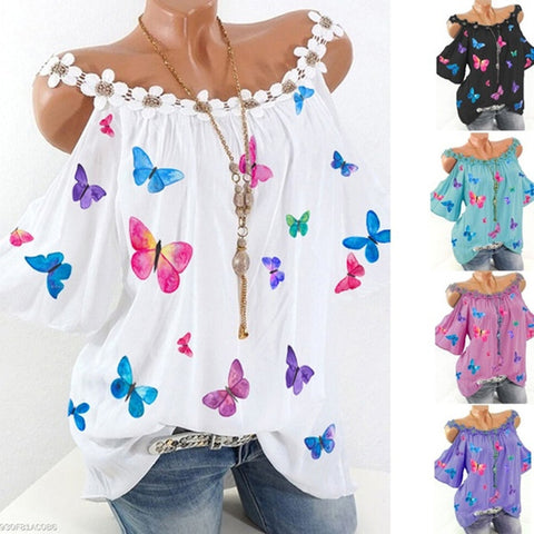 Women Butterfly Printed Lace Loose Short Sleeve Blouse T-shirt Tops