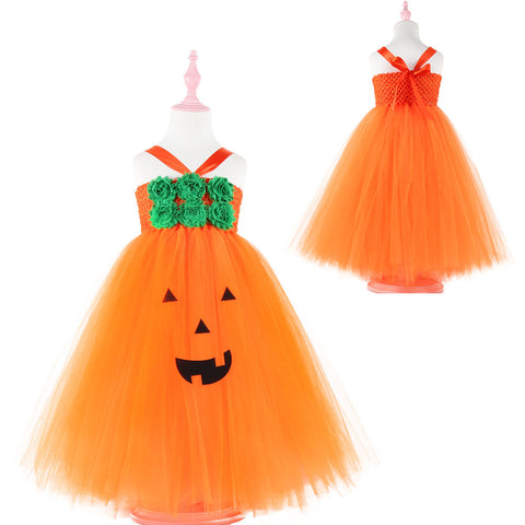 Girls Halloween Pumpkin Dress Children's Mesh Princess Dress Girls Dresses Kids Dress