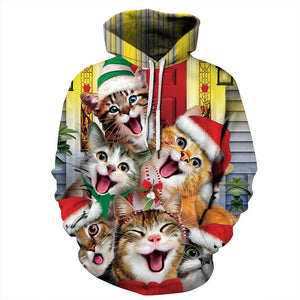 Funny Cat Print Unisex Long Sleeve Hooded Sweater Christmas Hoodie Sweatshirt For Men Women
