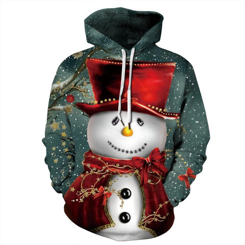 Funny Snowman Print Cute Christmas Long Sleeve Hoodie Sweatshirt Jackets For Men Women