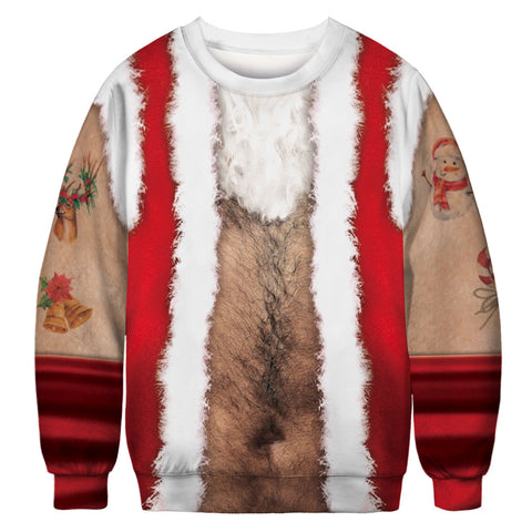 Chest Hair Ugly Christmas Sweater Long Sleeve Sweatshirt