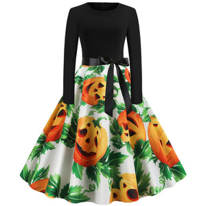Round Neck Pumpkin Print Long sleeve Hepburn Vintage Swing dress