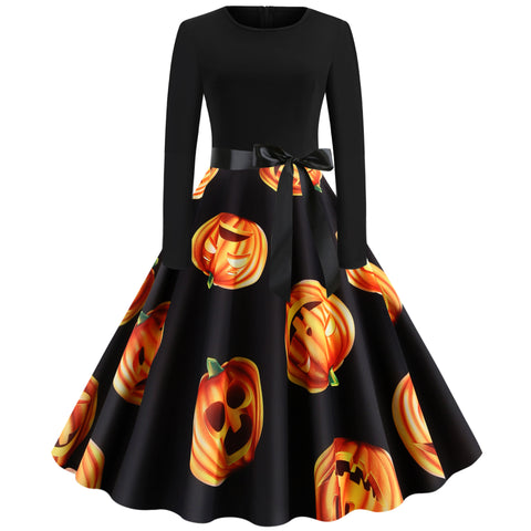 Halloween Pumpkin Print Long sleeve Hepburn Vintage Swing Dress