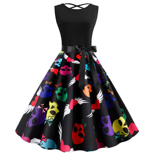 Skull Print Sleeveless Vintage Dress