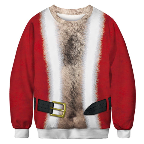 Funny Chest Hair and Belt Print Ugly Christmas Long Sleeve Men Sweatshirt Sweater Jacket