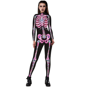 3D Funny Pink Skeleton Print Tight Stretch Women Long Sleeve Jumpsuit Pants Pajamas Onesies