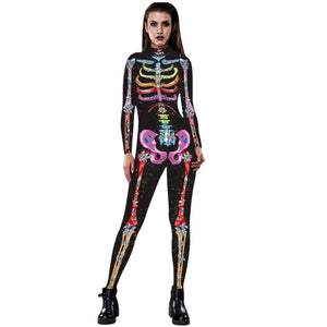 3D Funny Colorful Skeleton Print Tight Stretch Women Long Sleeve Jumpsuit Pants Pajamas Onesies