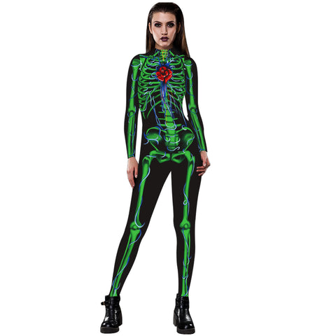 3D Funny Green Skeleton Print Tight Stretch Women Long Sleeve Jumpsuit Pants Pajamas Onesies