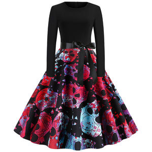Skull Flower Print Long sleeve Hepburn Vintage Swing Dress