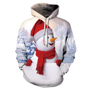 Funny Snowman Print Ugly Christmas Women Long Sleeve Hoodie Sweatshirts Jackets