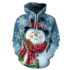 Christmas Snowman Funny Print Long Sleeve Hoodie Sweatshirt Sweater Jacket For Men Women