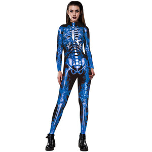 3D Funny Skeleton Print Tight Stretch Women Long Sleeve Jumpsuit Pants Pajamas Onesies