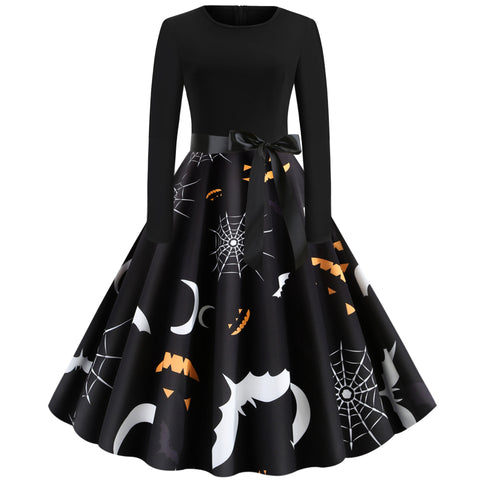 Bat Web Print Long sleeve Hepburn Vintage Swing Dress