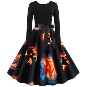 Round Neck Skull Print Long sleeve Vintage Swing dress