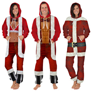 Christmas Unisex Santa Print Zip Hooded Large Size Casual Jumpsuit Christmas Costume