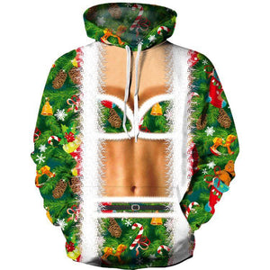 Funny Faux Suit Bra Print Ugly Christmas Long Sleeve Hoodie Sweater Sweatshirt Jacket For Men Women