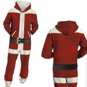 Christmas Ugly Santa Zip Hooded Large Size Casual Jumpsuit Christmas Costume Pajamas Onesie