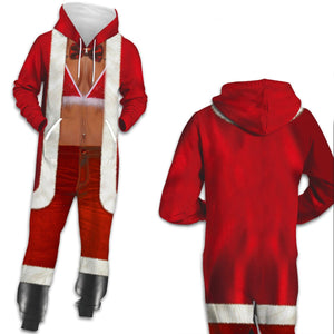 Funny Ugly Christmas Santa Print Zip Hooded Large Size Casual Women Jumpsuit Pajamas Onesies