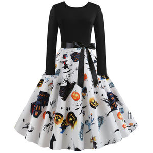 Pumpkin Bat Haunt Print Long sleeve Halloween Vintage Swing Dress
