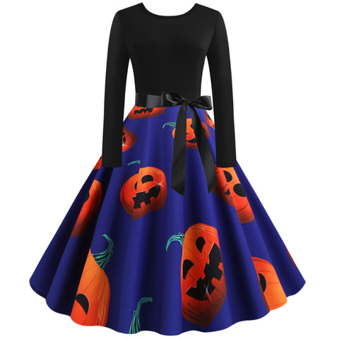 Pumpkin Print Long sleeve Halloween Vintage Swing Dress