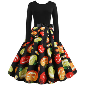 Round Neck Pumpkin Print Long sleeve Vintage Swing Dress