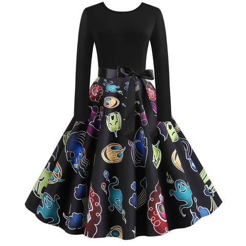 Round Neck Pumpkin Skull Haunt Print Long sleeve Vintage Swing Dress