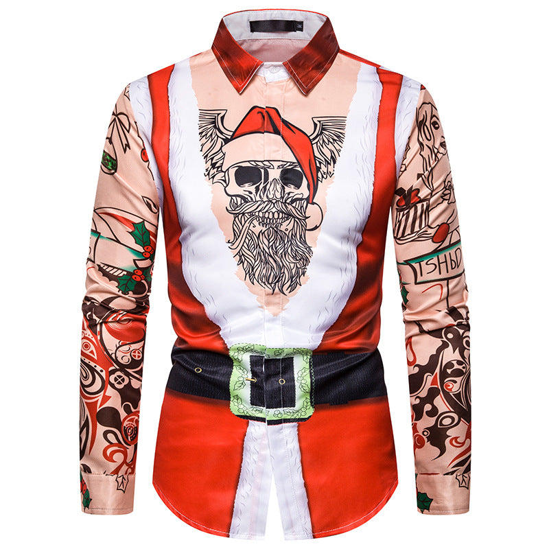 Faux Real Men's 3D Photo-Realistic Ugly Christmas Long Sleeve Shirt Christmas Costume