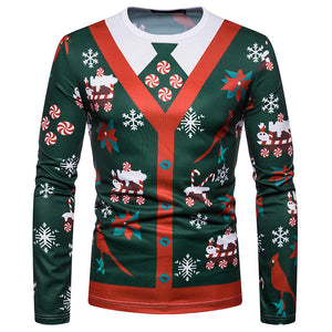 Men Christmas Fake Two Piece Printed Fashion Long Sleeve T-Shirt Top