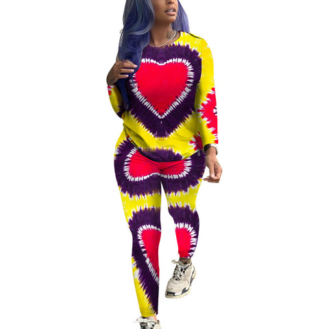 Tie Dye Printed Women Long Sleeve Casual Shirt Top+ Pants Two Piece Set Outfit Jumpsuit