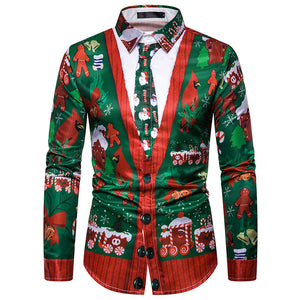 Faux Real Men's 3D Photo-Realistic Funny Ugly Christmas Long Sleeve Shirt Tops