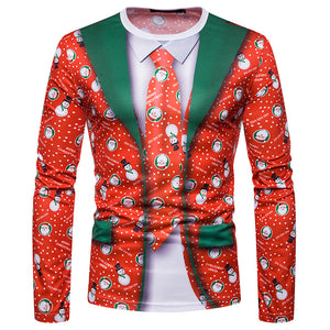 Men's Christmas Tie Print Fashion Long Sleeve T-Shirt